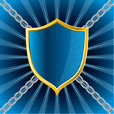 Shield on bursting background Royalty Free Stock Photos