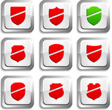 Shield  buttons. Royalty Free Stock Photo