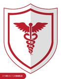 Shield with Caduceus staff Stock Photo