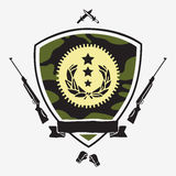 Shield camouflage color with ribbon surrounded by guns, knives, Stock Image