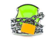 Shield with chain and padlock. Isolated on white background Stock Photography