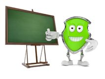 Shield character with blank blackboard. Isolated on white background. 3d illustration Royalty Free Stock Photo