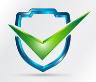 Shield with check mark Stock Image