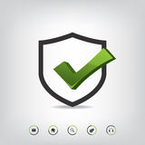 Shield check mark and web icons Royalty Free Stock Photography