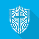 Shield with Christian cross. Vector illustration. Stock Photography