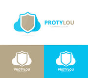 Shield and cloud logo combination. Security and storage logotype design template. stock images