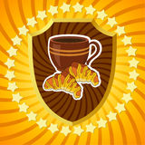 Shield with coffee and croissants. Banner Stock Photography