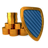 Shield with coins Royalty Free Stock Photography