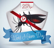 Shield Commemorating World Malaria Day with Mosquito Inside, Vector Illustration Royalty Free Stock Photo