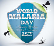 Shield Commemorating World Malaria Day and Mosquitoes Around, Vector Illustration Royalty Free Stock Images