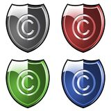 Shield with copyright symbol stock photography