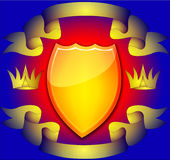 The Shield with corona. And tape on turn blue the background Royalty Free Stock Photo