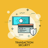 Shield, credit card and banknote. Transaction, payment security concept Stock Image