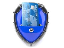 Shield with credit card. Isolated on white background Stock Images