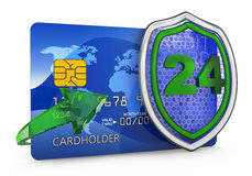 Shield and credit card. On a white background. 3D render Royalty Free Stock Images