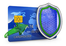 Shield and credit card. On a white background. 3D render Stock Photo
