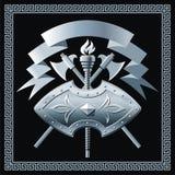 Shield with cross battle-axes Stock Photos
