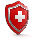Shield with cross (clipping path included) Royalty Free Stock Photography