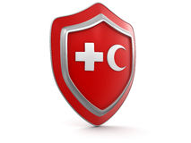 Shield with cross and Crescent (clipping path included) Stock Photos