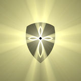 Shield with cross mark light flare Royalty Free Stock Image