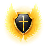 Shield with a cross. Vector. Royalty Free Stock Photos