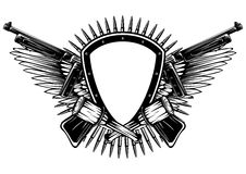 Shield with crossed machine guns and grenade Royalty Free Stock Image