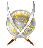 Shield and crossed scimitar swords Royalty Free Stock Image