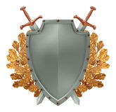 Shield with crossed swords on the background of go Stock Image