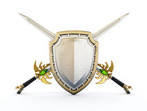Shield and crossed swords. 3D illustration Royalty Free Stock Image