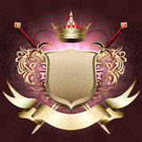 The shield with crown. Ihe shield with crown, two swords and banner against dark pink background drawn in classic style vector illustration