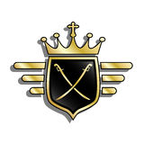 Shield with crown Stock Photography