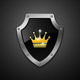 Shield with crown. Vector. Royalty Free Stock Photo