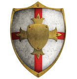 Shield. Crusader's shield with gold cross isolated Stock Images