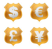 Shield currency signs of protection illustration Stock Photography