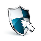 Shield and cursor Royalty Free Stock Photos