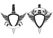 Shield and dagger. Vector illustration shield, wings and dagger Royalty Free Stock Image