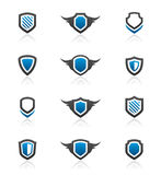 Shield design elements and graphics. Set of 12 shield emblem design elements and graphics Stock Photos