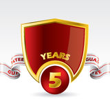Shield design guarantee with ribbon. 5 years guarantee shield design with ribbon Stock Photo