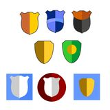 Shield design icon set. Colorful shield design icon set royalty free illustration