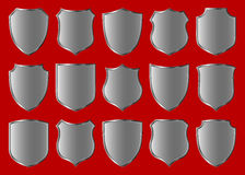 Shield design set. Silver shield design set with various shapes Stock Photography