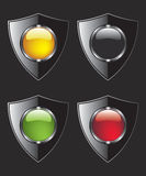 Shield with different color buttons Royalty Free Stock Image
