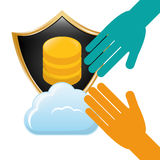 Shield distributed data center icon. Illustration Royalty Free Stock Photography