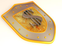 Shield with dollar Royalty Free Stock Photo