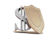 Shield with dollar Stock Photo