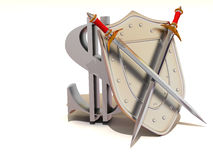 Shield with dollar Stock Images