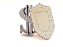 Shield with dollar Royalty Free Stock Photography