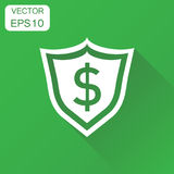 Shield with dollar icon. Business concept shield pictogram. Vect. Or illustration on green background with long shadow Stock Photography