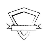Shield element protected stamp sketch Stock Photos
