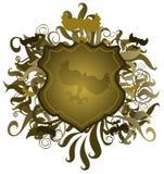 Shield Emblem. Illustration of a leafy green shield design emblem Stock Photo