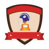 Shield emblem with side view american football helmet and Trophy Cup with plate Stock Images